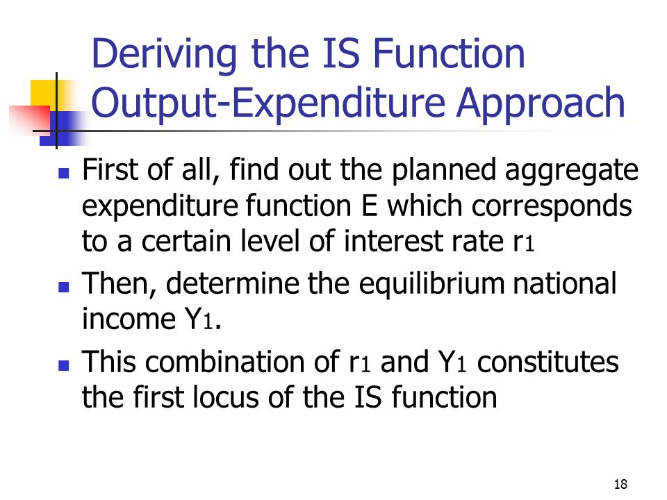 17 Deriving the IS Function Output-Expenditure Approach In equilibrium, Y = E Y = C ' – cT ' + I ' + G ' – br + cY Y = k E * E ' E = C ' +I ' +G '– br