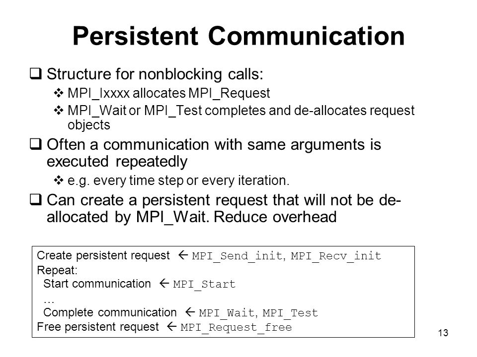 13 Persistent Communication  Structure for nonblocking calls:  MPI_Ixxxx allocates MPI_Request  MPI_Wait or MPI_Test completes and de-allocates request objects  Often a communication with same arguments is executed repeatedly  e.g.