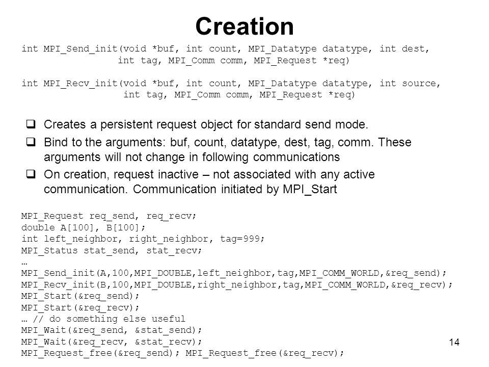 14 Creation  Creates a persistent request object for standard send mode.