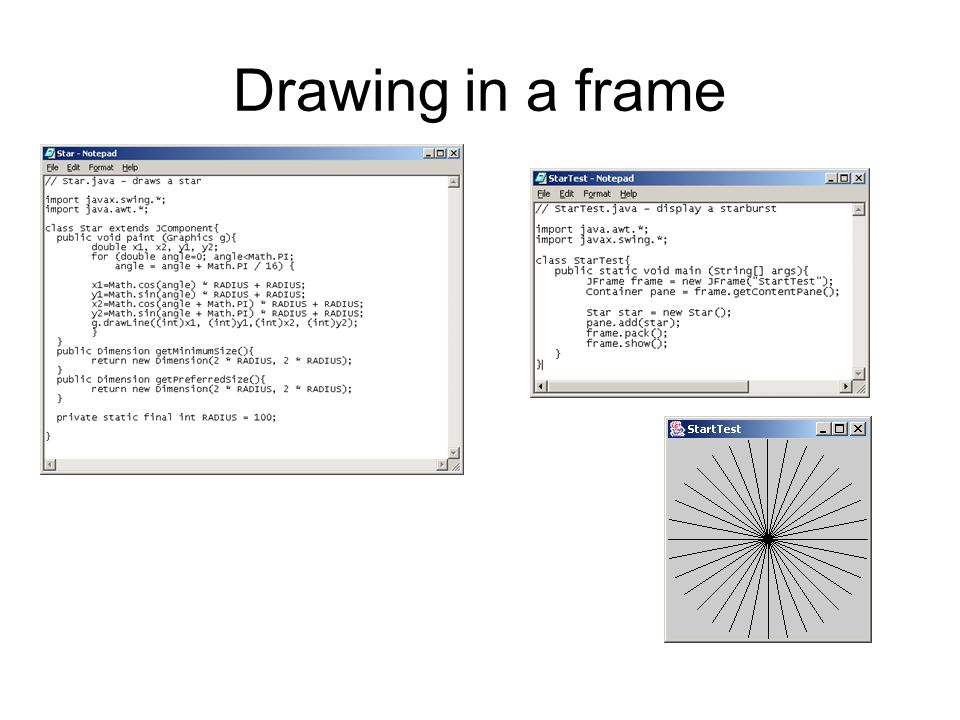 1.We used the graphics and the Jframe together with a simple loop that creates references for a line.