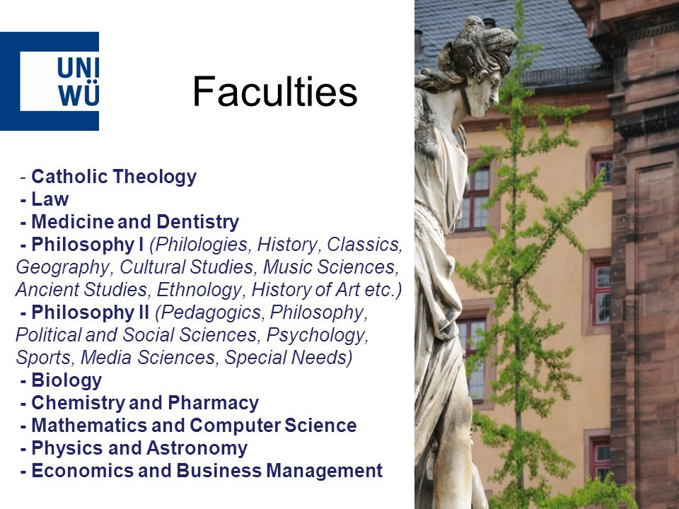 - Catholic Theology - Law - Medicine and Dentistry - Philosophy I (Philologies, History, Classics, Geography, Cultural Studies, Music Sciences, Ancient Studies, Ethnology, History of Art etc.) - Philosophy II (Pedagogics, Philosophy, Political and Social Sciences, Psychology, Sports, Media Sciences, Special Needs) - Biology - Chemistry and Pharmacy - Mathematics and Computer Science - Physics and Astronomy - Economics and Business Management Faculties