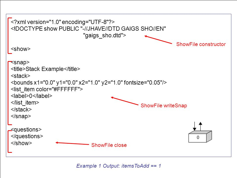<!DOCTYPE show PUBLIC -//JHAVE//DTD GAIGS SHO//EN gaigs_sho.dtd > Stack Example 0 Example 1 Output: itemsToAdd == 1 ShowFile constructor ShowFile writeSnap ShowFile close