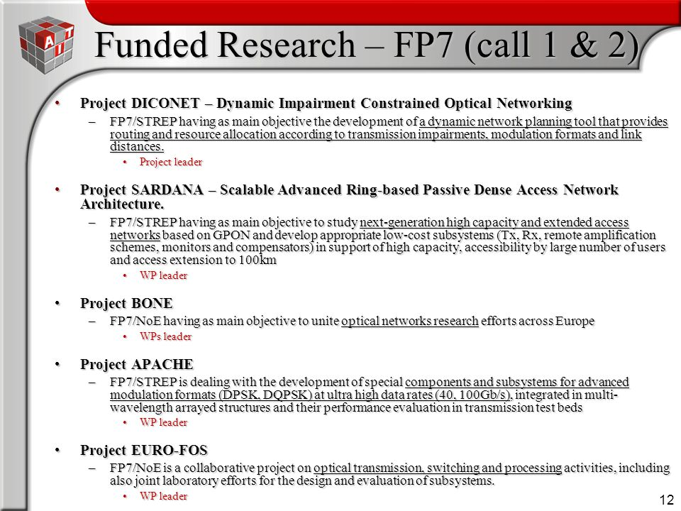 12 Funded Research – FP7 (call 1 & 2) Project DICONET – Dynamic Impairment Constrained Optical NetworkingProject DICONET – Dynamic Impairment Constrai