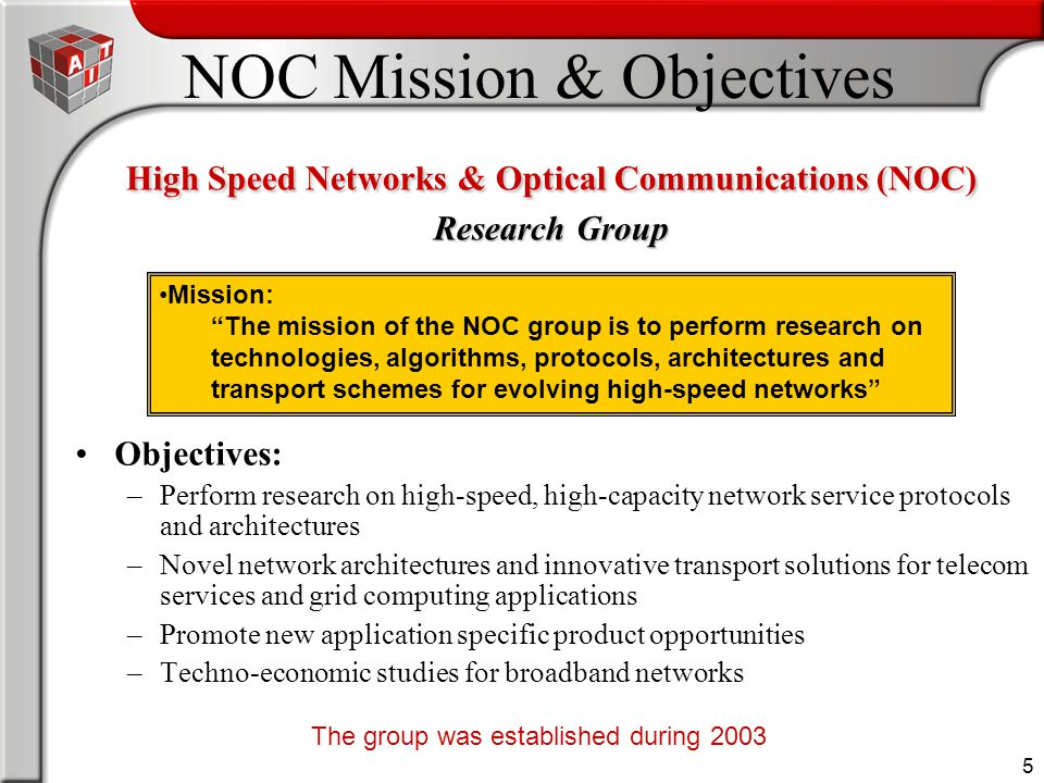 5 NOC Mission & Objectives Objectives: –Perform research on high-speed, high-capacity network service protocols and architectures –Novel network archi
