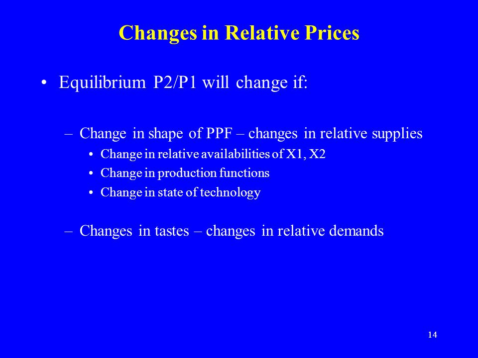 14 Changes in Relative Prices Equilibrium P2/P1 will change if: –Change in shape of PPF – changes in relative supplies Change in relative availabilities of X1, X2 Change in production functions Change in state of technology –Changes in tastes – changes in relative demands