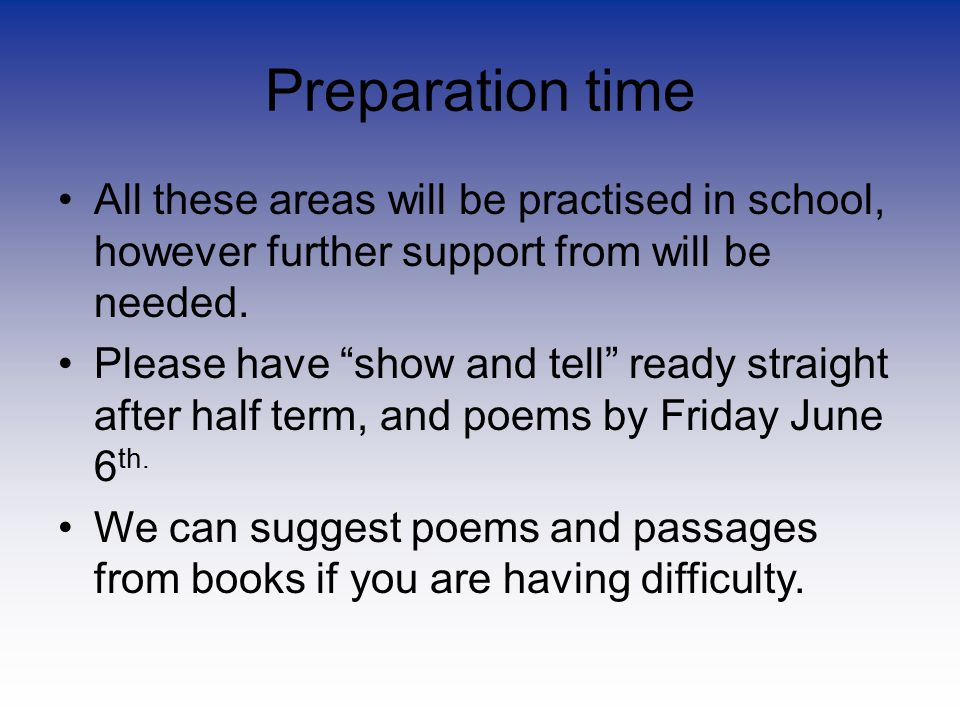 Preparation time All these areas will be practised in school, however further support from will be needed.