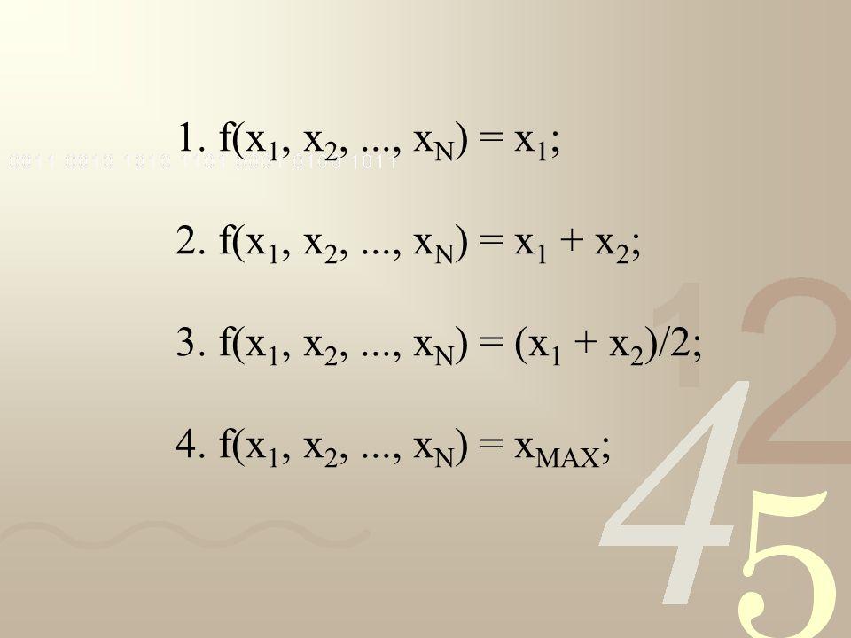 1. f(x 1, x 2,..., x N ) = x 1 ; 2. f(x 1, x 2,..., x N ) = x 1 + x 2 ; 3. f(x 1, x 2,..., x N ) = (x 1 + x 2 )/2; 4. f(x 1, x 2,..., x N ) = x MAX ;