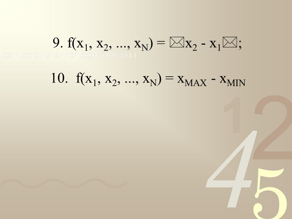 9. f(x 1, x 2,..., x N ) = * x 2 - x 1 * ; 10. f(x 1, x 2,..., x N ) = x MAX - x MIN