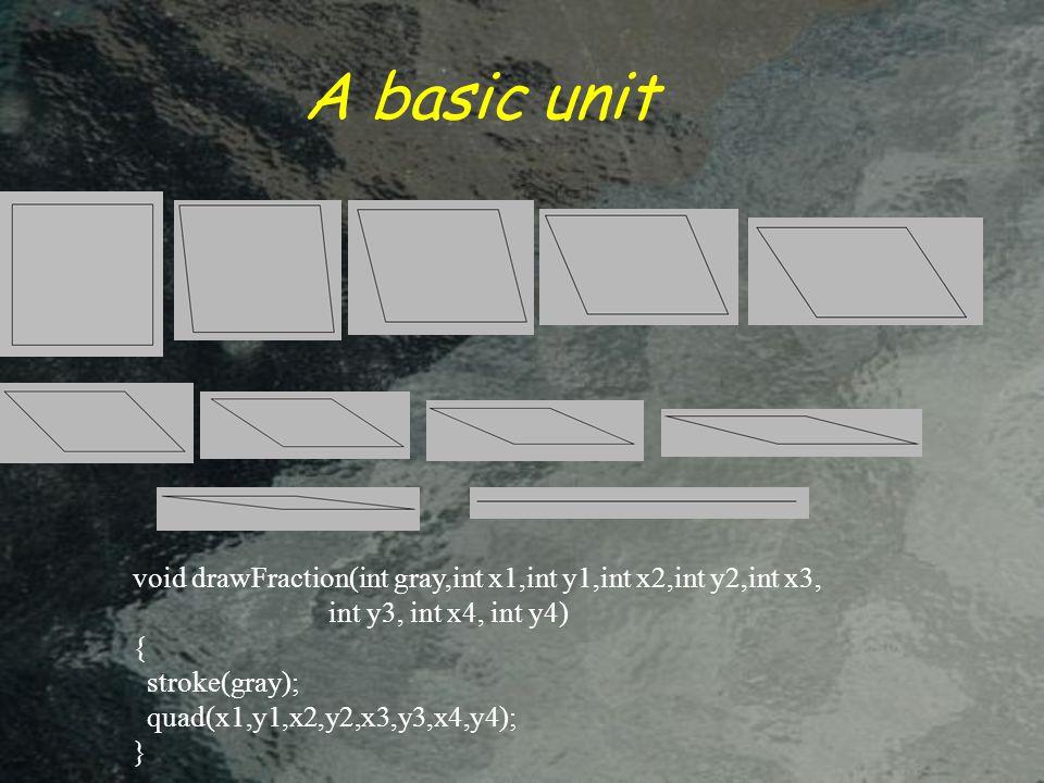 A basic unit void drawFraction(int gray,int x1,int y1,int x2,int y2,int x3, int y3, int x4, int y4) { stroke(gray); quad(x1,y1,x2,y2,x3,y3,x4,y4); }
