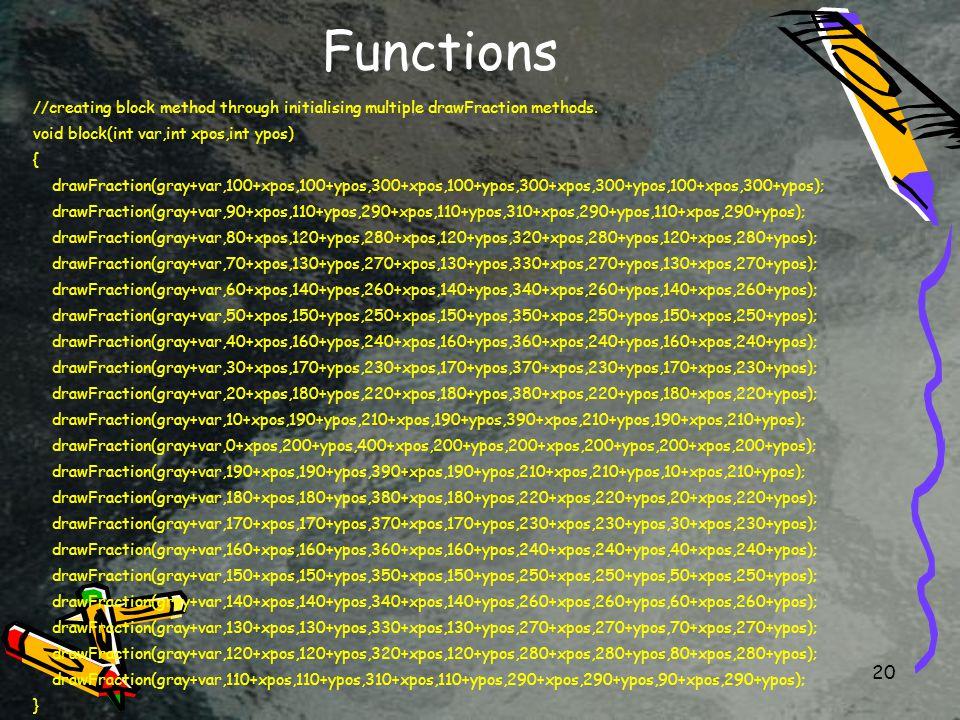 20 Functions //creating block method through initialising multiple drawFraction methods.