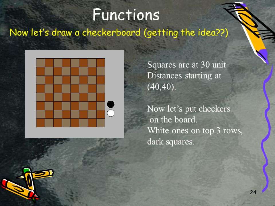24 Functions Now let's draw a checkerboard (getting the idea ) Squares are at 30 unit Distances starting at (40,40).