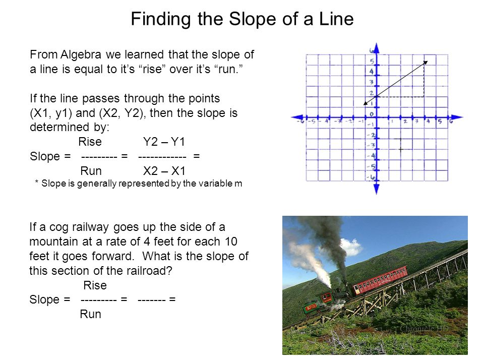 Finding the Slope of a Line If a cog railway goes up the side of a mountain at a rate of 4 feet for each 10 feet it goes forward.