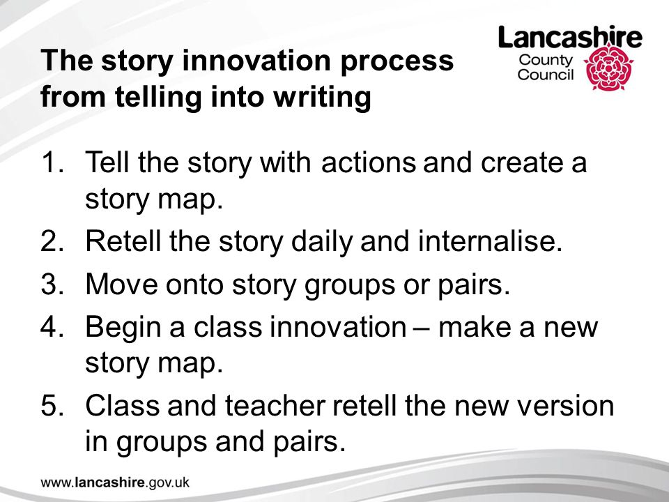 The story innovation process from telling into writing 1.Tell the story with actions and create a story map.