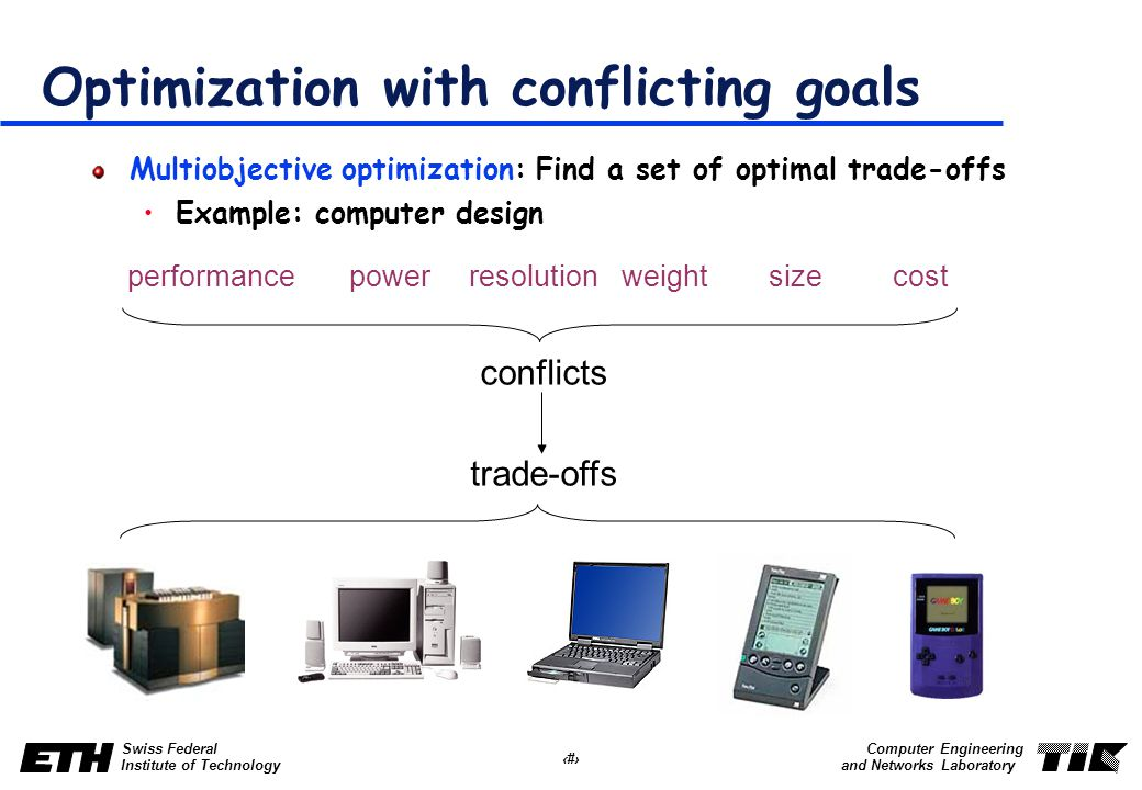 32 Swiss Federal Institute of Technology Computer Engineering and Networks Laboratory Optimization with conflicting goals Multiobjective optimization: Find a set of optimal trade-offs Example: computer design resolutioncostpowersizeperformanceweight conflicts trade-offs