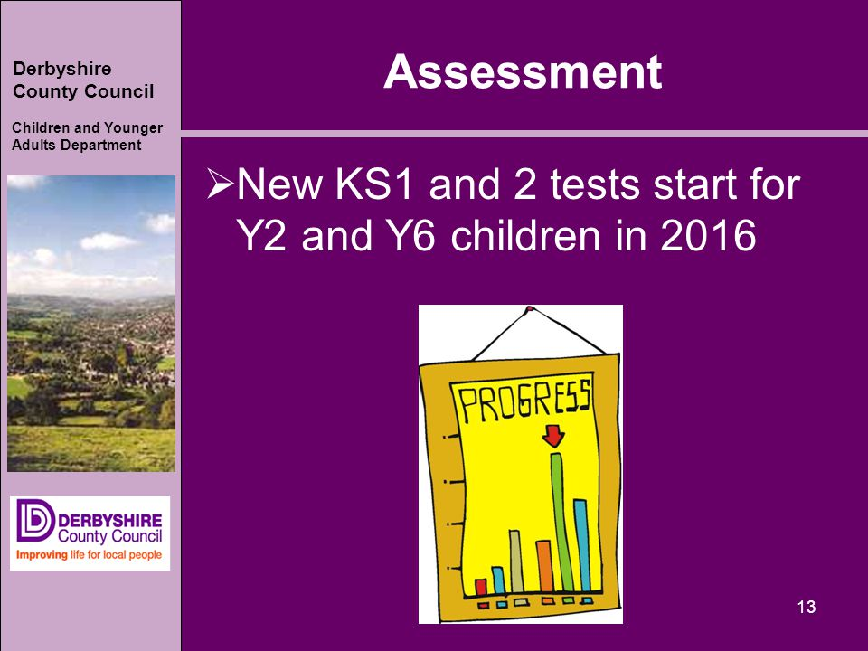 Derbyshire County Council Children and Younger Adults Department Assessment  New KS1 and 2 tests start for Y2 and Y6 children in 2016 13