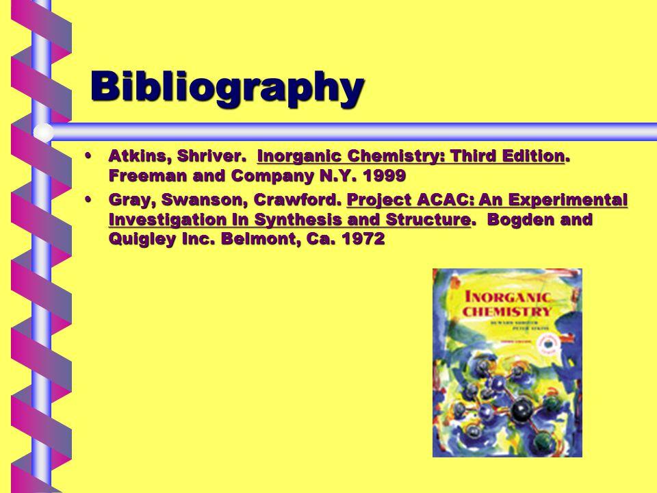 Bibliography Atkins, Shriver. Inorganic Chemistry: Third Edition.