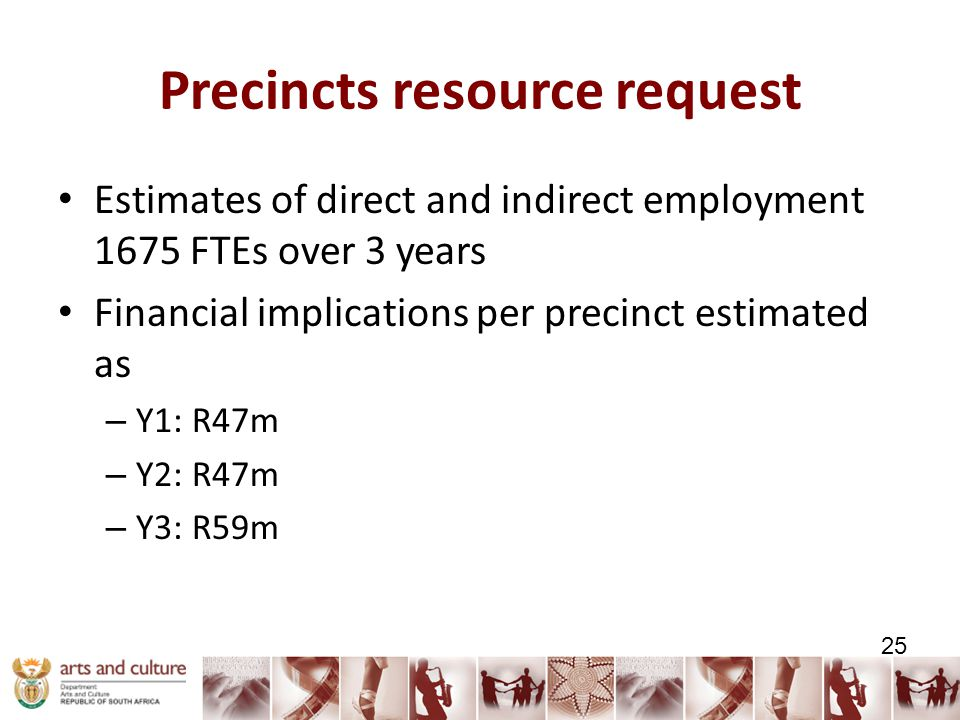 Precincts resource request Estimates of direct and indirect employment 1675 FTEs over 3 years Financial implications per precinct estimated as – Y1: R47m – Y2: R47m – Y3: R59m 25