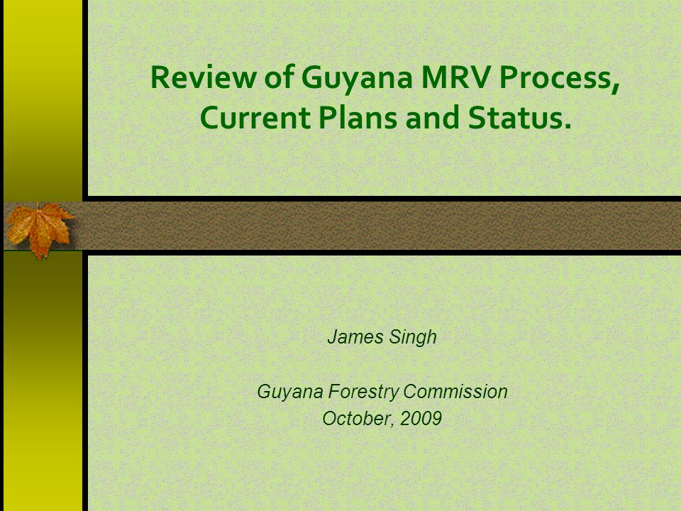 Review of Guyana MRV Process, Current Plans and Status.
