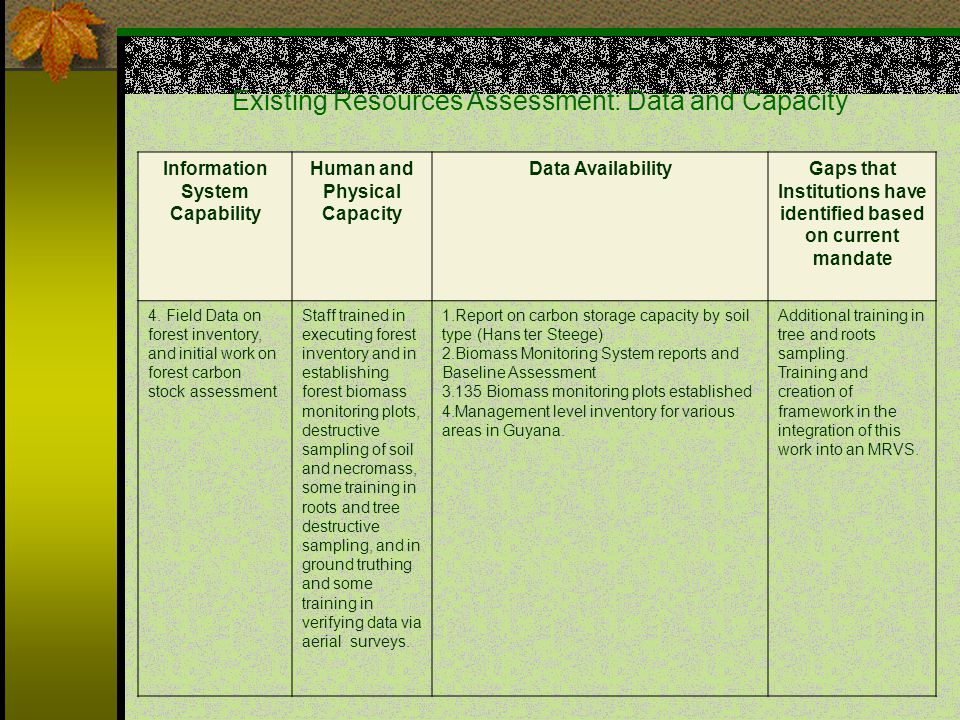 Information System Capability Human and Physical Capacity Data AvailabilityGaps that Institutions have identified based on current mandate 4.