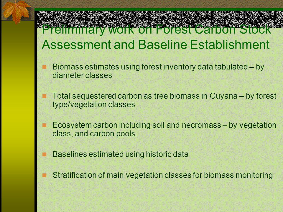 Preliminary work on Forest Carbon Stock Assessment and Baseline Establishment Biomass estimates using forest inventory data tabulated – by diameter classes Total sequestered carbon as tree biomass in Guyana – by forest type/vegetation classes Ecosystem carbon including soil and necromass – by vegetation class, and carbon pools.