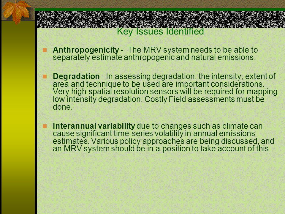 Key Issues Identified Anthropogenicity - The MRV system needs to be able to separately estimate anthropogenic and natural emissions.