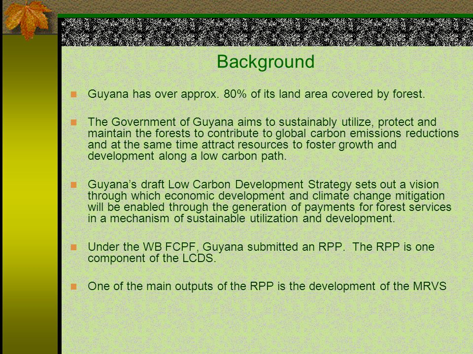 Background Guyana has over approx. 80% of its land area covered by forest.