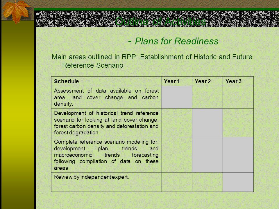 Outline of Activities - Plans for Readiness Main areas outlined in RPP: Establishment of Historic and Future Reference Scenario ScheduleYear 1Year 2Year 3 Assessment of data available on forest area, land cover change and carbon density.