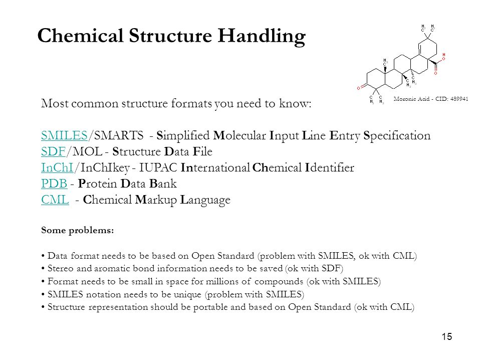 15 Chemical Structure Handling Most common structure formats you need to know: SMILESSMILES/SMARTS - Simplified Molecular Input Line Entry Specification SDFSDF/MOL - Structure Data File InChIInChI/InChIkey - IUPAC International Chemical Identifier PDBPDB - Protein Data Bank CMLCML - Chemical Markup Language Some problems: Data format needs to be based on Open Standard (problem with SMILES, ok with CML) Stereo and aromatic bond information needs to be saved (ok with SDF) Format needs to be small in space for millions of compounds (ok with SMILES) SMILES notation needs to be unique (problem with SMILES) Structure representation should be portable and based on Open Standard (ok with CML) Moronic Acid - CID: 489941