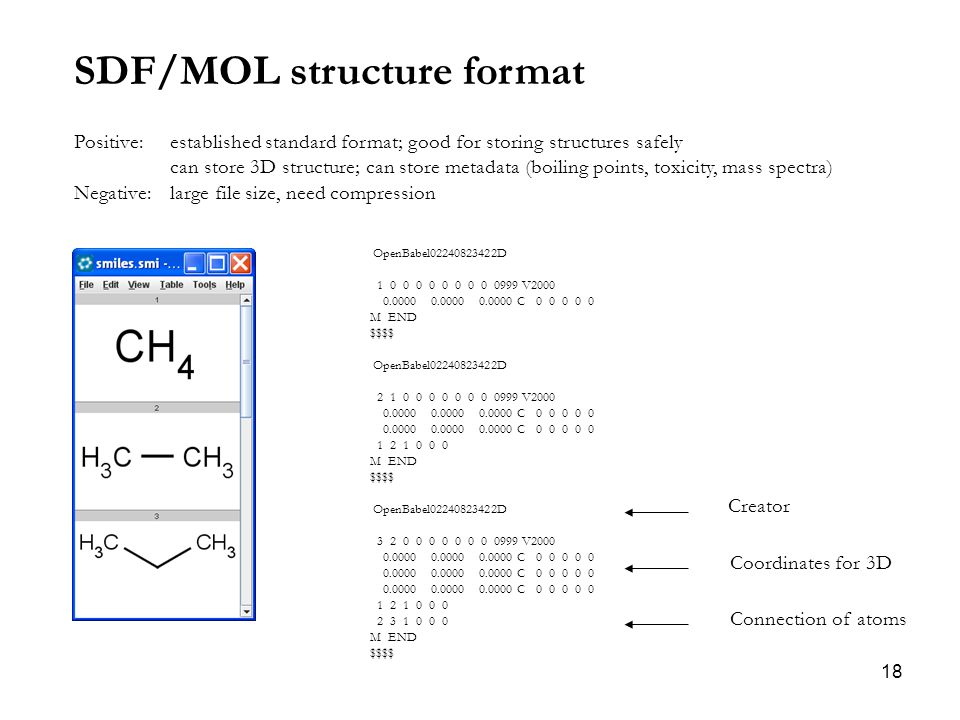 18 SDF/MOL structure format Positive: established standard format; good for storing structures safely can store 3D structure; can store metadata (boiling points, toxicity, mass spectra) Negative: large file size, need compression OpenBabel02240823422D 1 0 0 0 0 0 0 0 0 0999 V2000 0.0000 0.0000 0.0000 C 0 0 0 0 0 M END $$$$ OpenBabel02240823422D 2 1 0 0 0 0 0 0 0 0999 V2000 0.0000 0.0000 0.0000 C 0 0 0 0 0 1 2 1 0 0 0 M END $$$$ OpenBabel02240823422D 3 2 0 0 0 0 0 0 0 0999 V2000 0.0000 0.0000 0.0000 C 0 0 0 0 0 1 2 1 0 0 0 2 3 1 0 0 0 M END $$$$ Creator Coordinates for 3D Connection of atoms