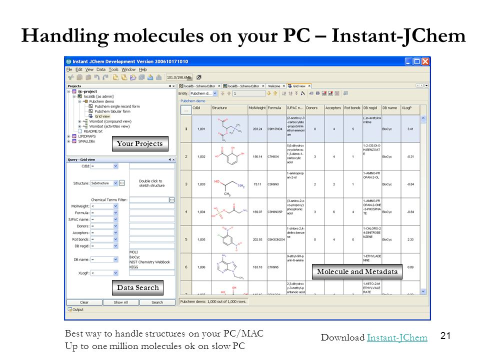 21 Handling molecules on your PC – Instant-JChem Download Instant-JChemInstant-JChem Your Projects Data Search Molecule and Metadata Best way to handle structures on your PC/MAC Up to one million molecules ok on slow PC
