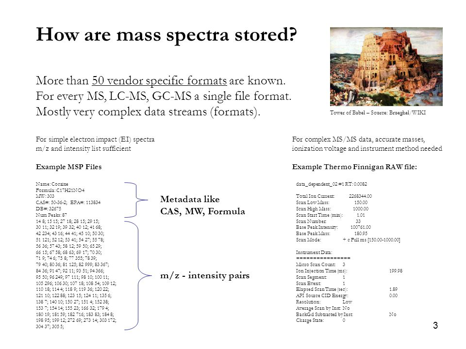 3 How are mass spectra stored. More than 50 vendor specific formats are known.