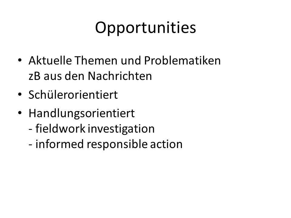 Opportunities Aktuelle Themen und Problematiken zB aus den Nachrichten Schülerorientiert Handlungsorientiert - fieldwork investigation - informed responsible action