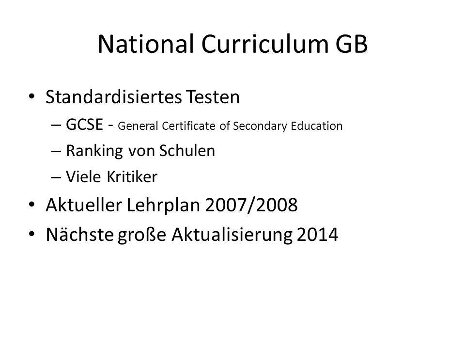 National Curriculum GB Standardisiertes Testen – GCSE - General Certificate of Secondary Education – Ranking von Schulen – Viele Kritiker Aktueller Lehrplan 2007/2008 Nächste große Aktualisierung 2014