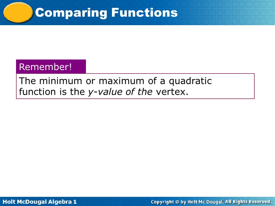 Holt McDougal Algebra 1 Comparing Functions The minimum or maximum of a quadratic function is the y-value of the vertex. Remember!