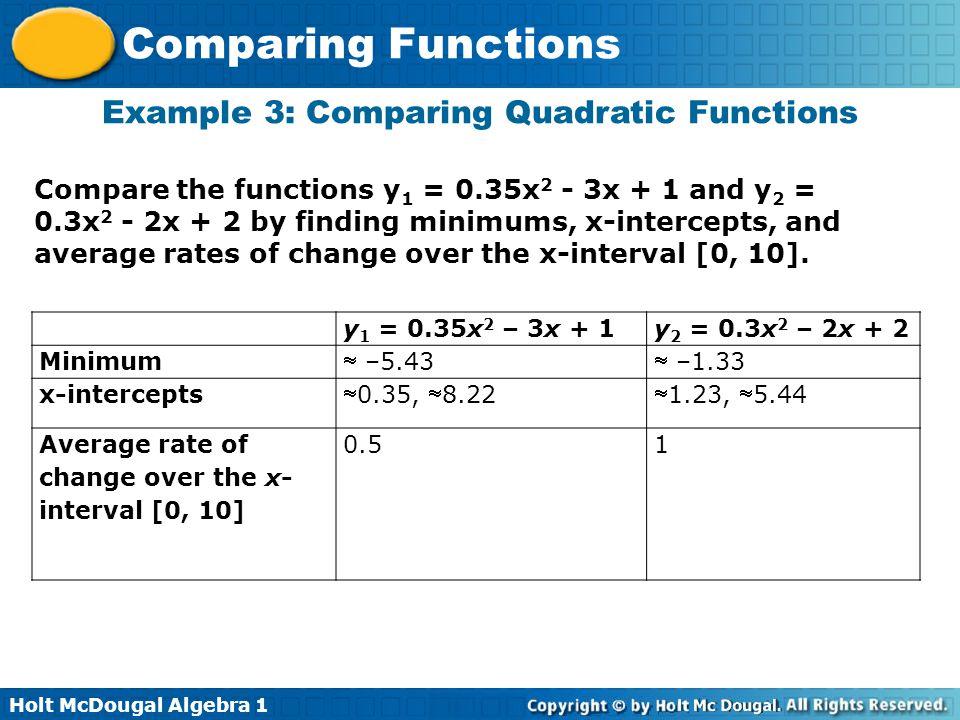 Holt McDougal Algebra 1 Comparing Functions Example 3: Comparing Quadratic Functions Compare the functions y 1 = 0.35x 2 - 3x + 1 and y 2 = 0.3x 2 - 2