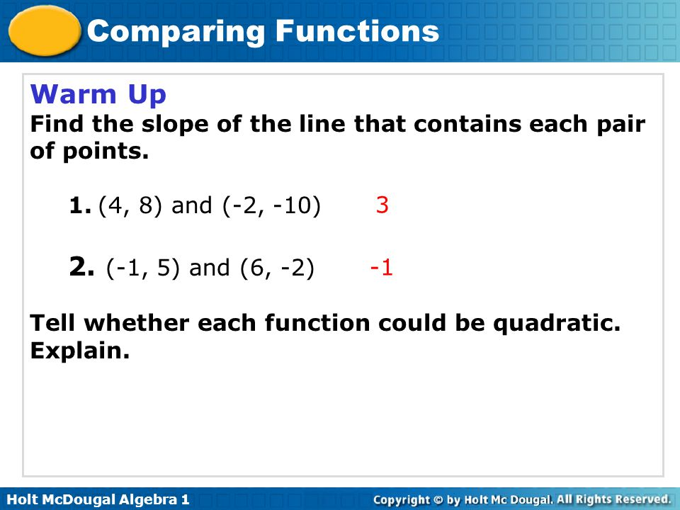 Holt McDougal Algebra 1 Comparing Functions Lesson Quiz: Part II 2.