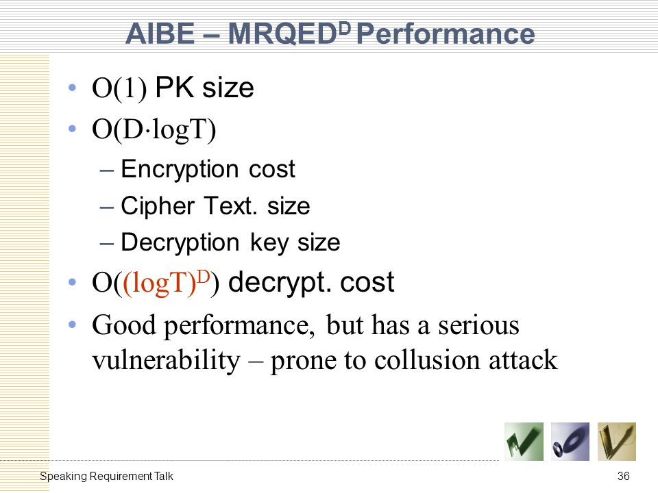 36Speaking Requirement Talk AIBE – MRQED D Performance O(1) PK size O(D ¢ logT) –Encryption cost –Cipher Text.