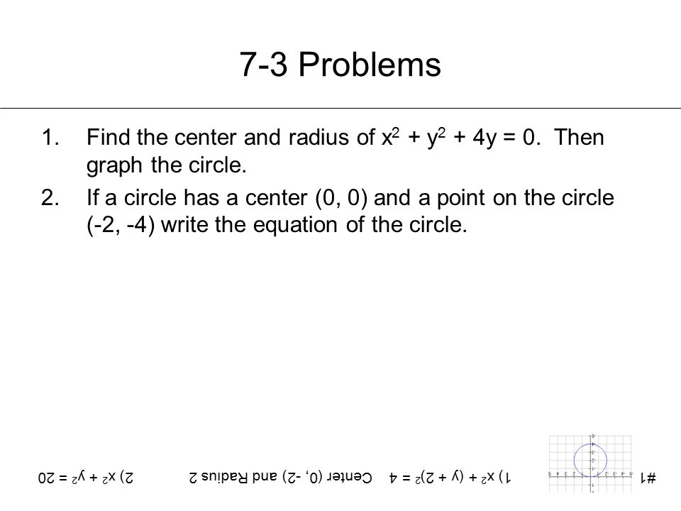 7-3 Problems 1.Find the center and radius of x 2 + y 2 + 4y = 0. Then graph the circle. 2.If a circle has a center (0, 0) and a point on the circle (-