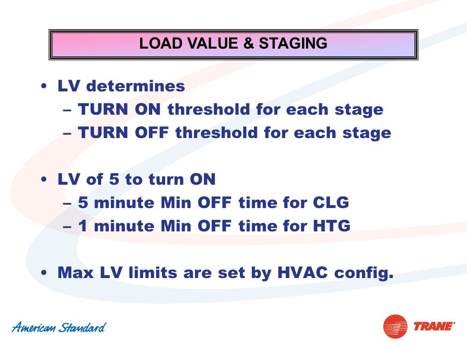 LOAD VALUE & STAGING LV determines –TURN ON threshold for each stage –TURN OFF threshold for each stage LV of 5 to turn ON –5 minute Min OFF time for CLG –1 minute Min OFF time for HTG Max LV limits are set by HVAC config.