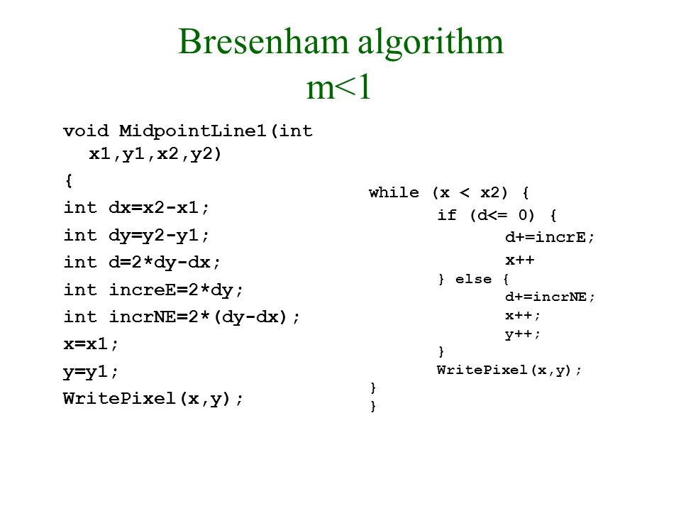 30/9/2008Lecture 218 Bresenham algorithm m<1 void MidpointLine1(int x1,y1,x2,y2) { int dx=x2-x1; int dy=y2-y1; int d=2*dy-dx; int increE=2*dy; int incrNE=2*(dy-dx); x=x1; y=y1; WritePixel(x,y); while (x < x2) { if (d<= 0) { d+=incrE; x++ } else { d+=incrNE; x++; y++; } WritePixel(x,y); }