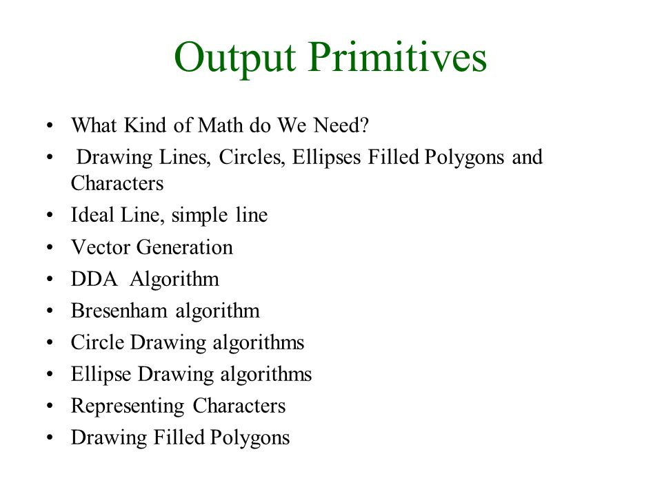 30/9/2008Lecture 23 Output Primitives What Kind of Math do We Need.
