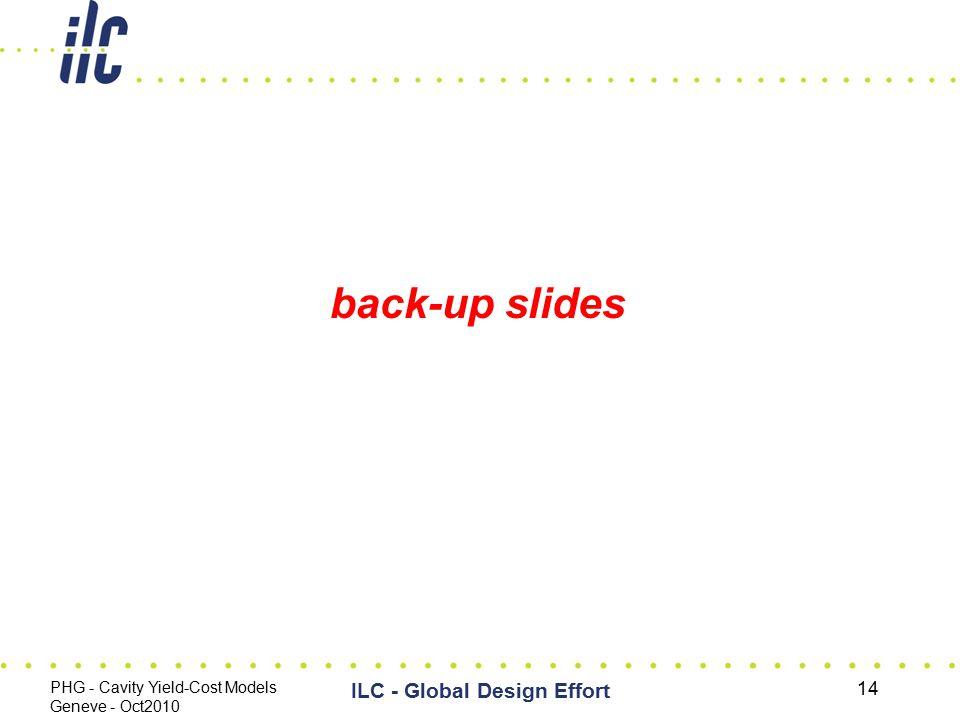 back-up slides PHG - Cavity Yield-Cost Models Geneve - Oct2010 ILC - Global Design Effort 14