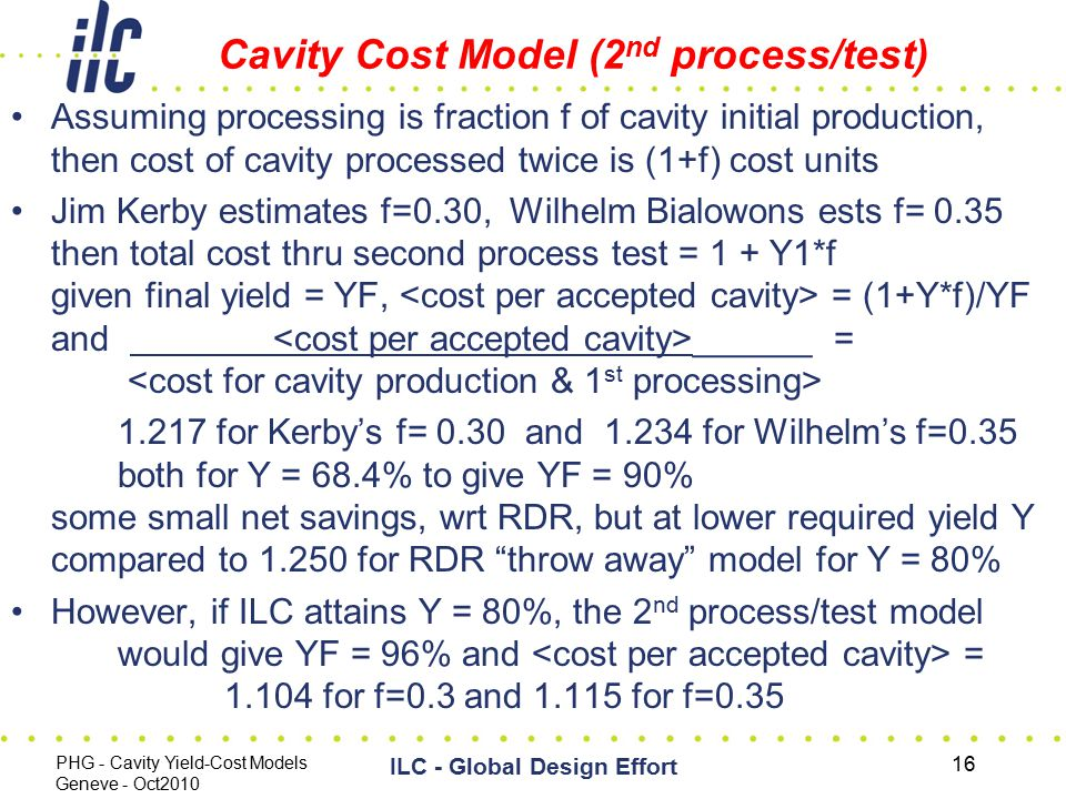 Cavity Cost Model (2 nd process/test) Assuming processing is fraction f of cavity initial production, then cost of cavity processed twice is (1+f) cos