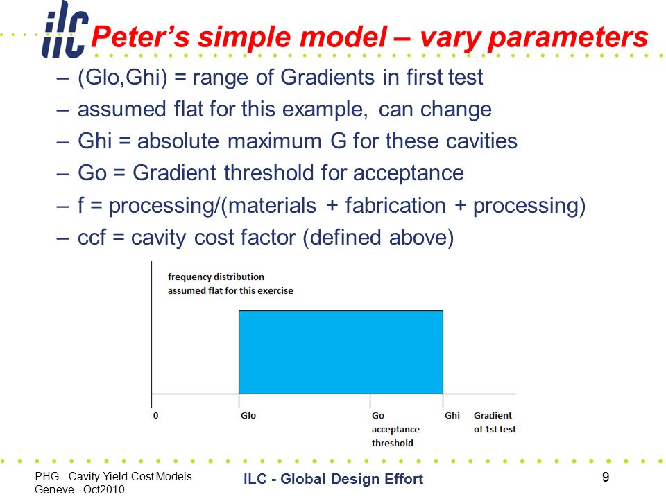Peter's simple model – vary parameters –(Glo,Ghi) = range of Gradients in first test –assumed flat for this example, can change –Ghi = absolute maximum G for these cavities –Go = Gradient threshold for acceptance –f = processing/(materials + fabrication + processing) –ccf = cavity cost factor (defined above) PHG - Cavity Yield-Cost Models Geneve - Oct2010 ILC - Global Design Effort 9