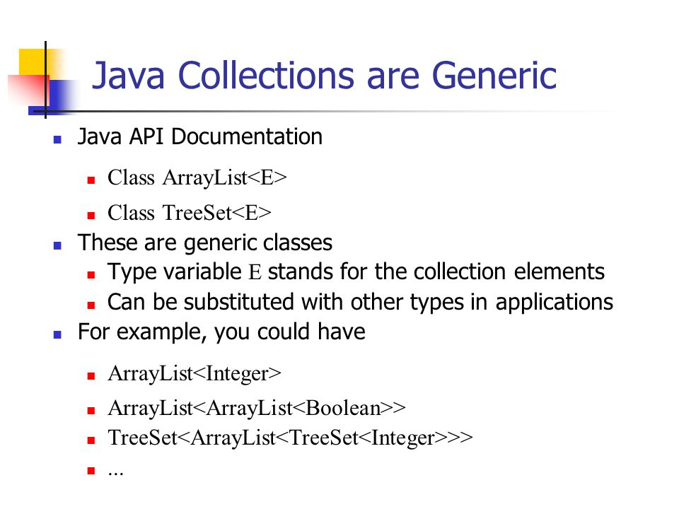 Java Collections are Generic Java API Documentation Class ArrayList Class TreeSet These are generic classes Type variable E stands for the collection