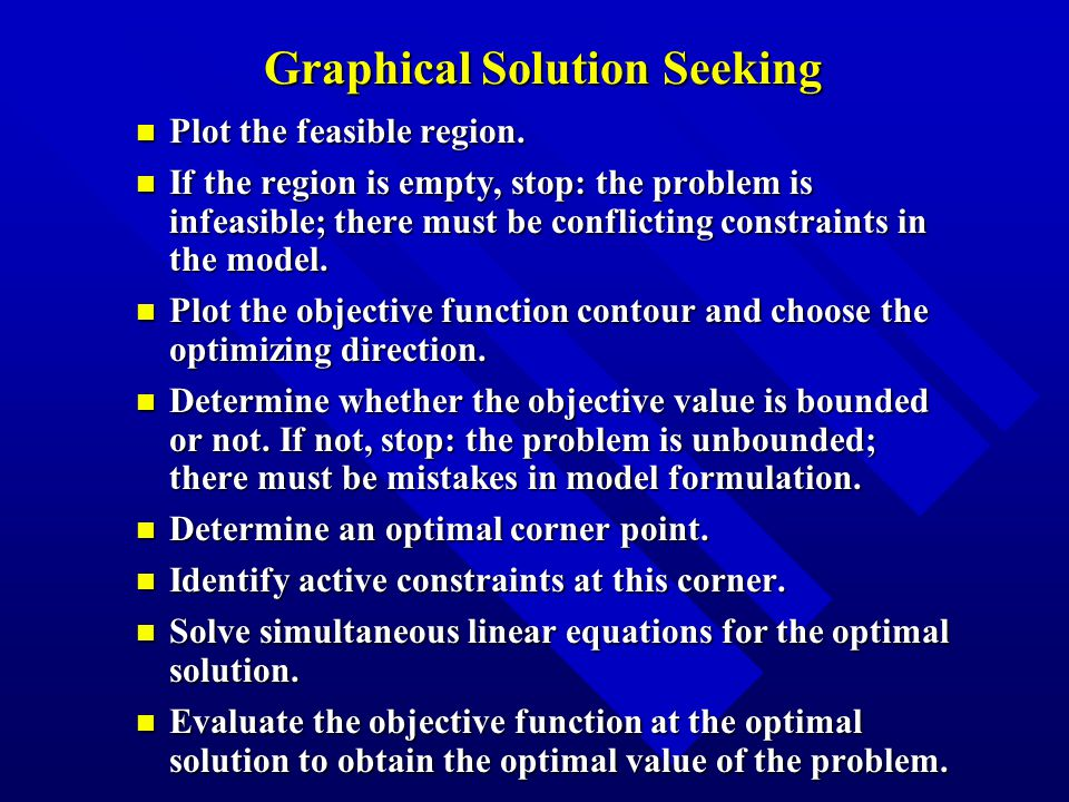 Graphical Solution Seeking n Plot the feasible region.