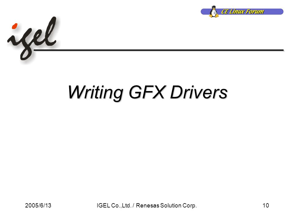 2005/6/1310IGEL Co.,Ltd. / Renesas Solution Corp. Writing GFX Drivers