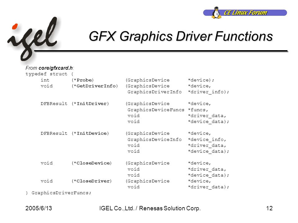 2005/6/1312IGEL Co.,Ltd. / Renesas Solution Corp. GFX Graphics Driver Functions From core/gfxcard.h: typedef struct { int (*Probe) (GraphicsDevice *de
