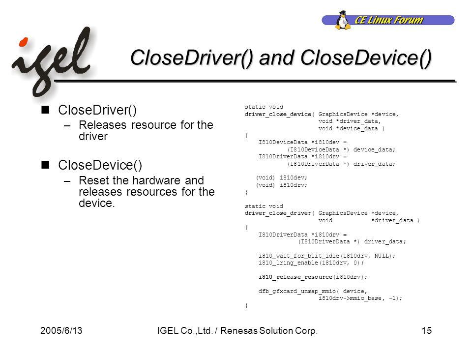 2005/6/1315IGEL Co.,Ltd. / Renesas Solution Corp.
