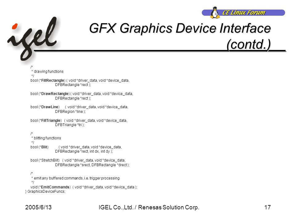2005/6/1317IGEL Co.,Ltd. / Renesas Solution Corp. GFX Graphics Device Interface (contd.) /* * drawing functions */ bool (*FillRectangle) ( void *drive